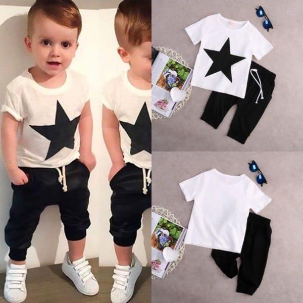 Kids Baby Boys Casual Star T Shirt Tops +harem Pants 2 Pcs Outfits