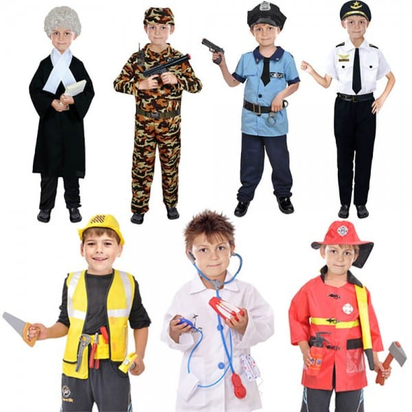 Kids Fancy Dress Party Costume Firefighter Police Role Play Toy