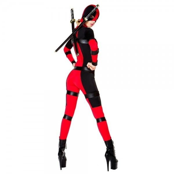 Lady Deadpool Costume Red And Black Full Bodysuit Sexy Women