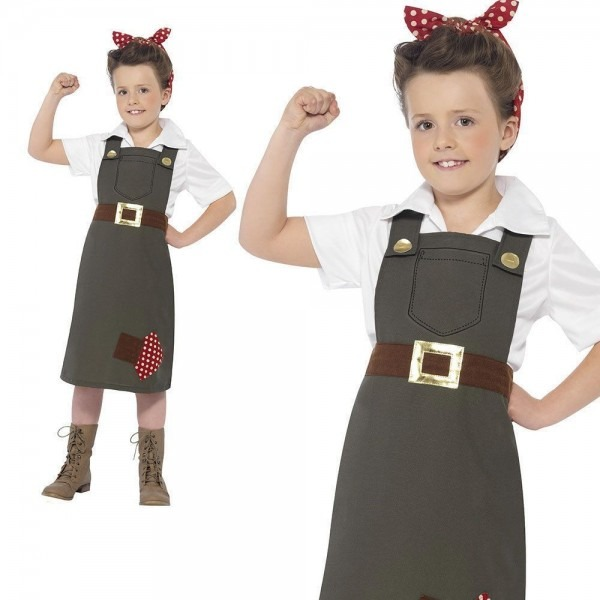 Girls Land Girl Ww2 Costume Wartime Kids Fancy Dress Outfit