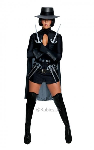 V For Vendetta Fancy Dress Costume Outfit Adult Halloween Womens