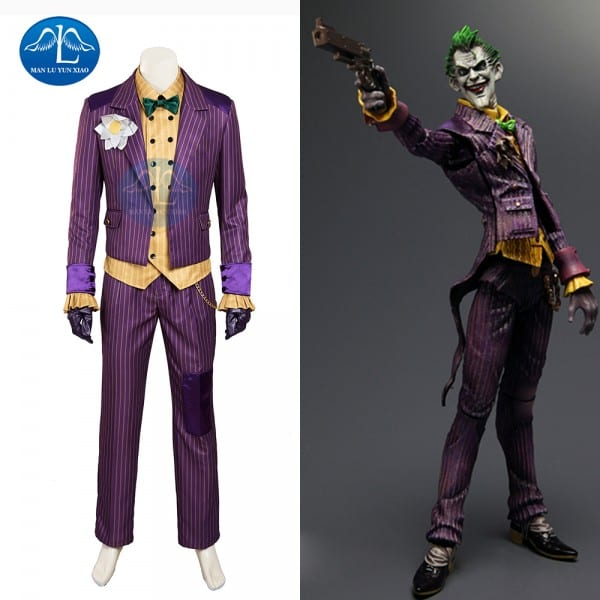 Manluyunxiao Hot Sale Batman Arkham Asylum Joker Cosplay Costume