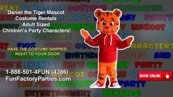 Daniel The Tiger Mascot Costume Rentals Adult Sized Children's