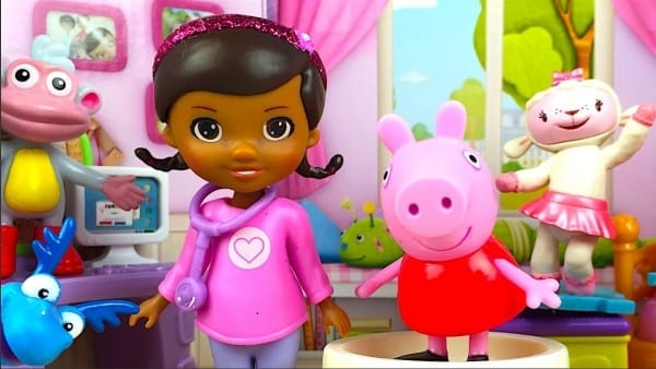 Doc Mcstuffins With Stuffy Lambie Mickey Mouse Peppa Pig Monkey