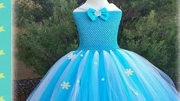 Dress Frozen Crochet Tull Tutu Elsa  Vestido Da Frozen De Croche E