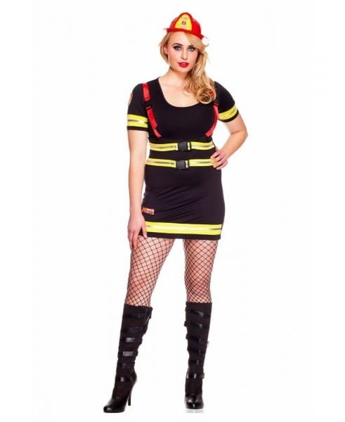 New Music Legs 70482q Plus Size Firefighter Babe Costume