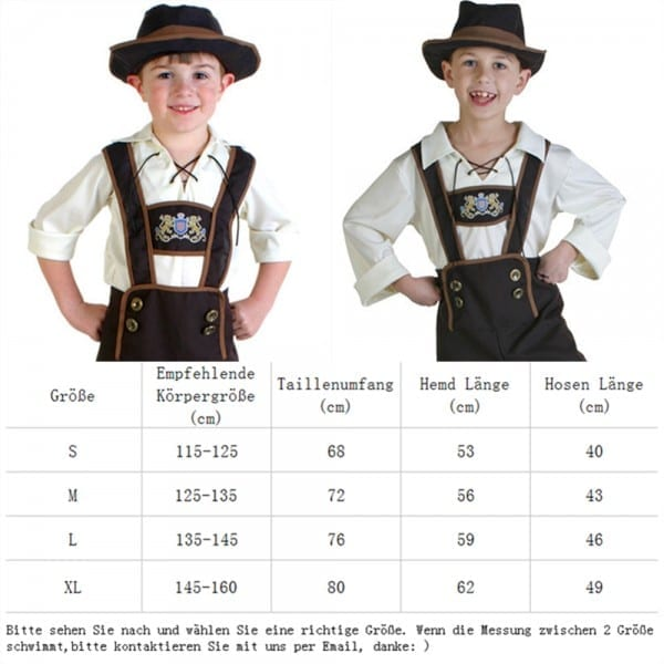 New Boys Halloween Germany Beer Festival Waiter Costumes Outfit