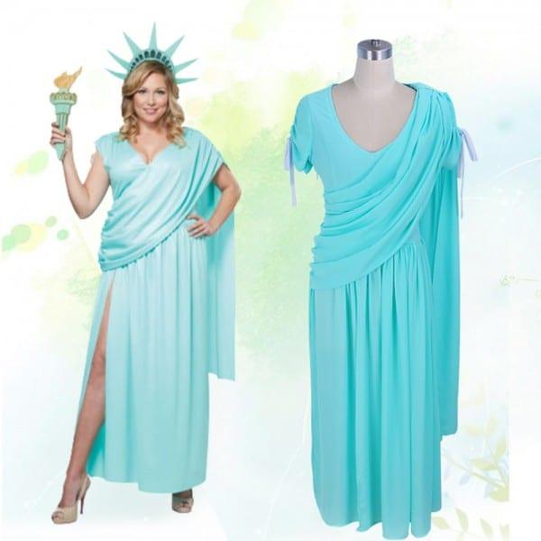 Plus Size Women Summer Dress Statue Of Liberty Goddess Cosplay