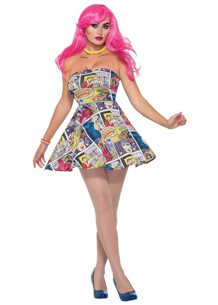 Pop Art Comic Book Printed Dress Women Costume