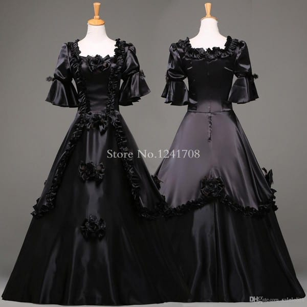 Custom Black Vintage Gothic Rococo Ball Gown Adult Halloween Party