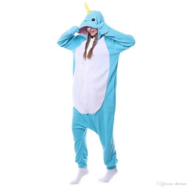 Animal Cosplay Costume Unisex Adult Narwhal Pajamas Jumpsuit Dress