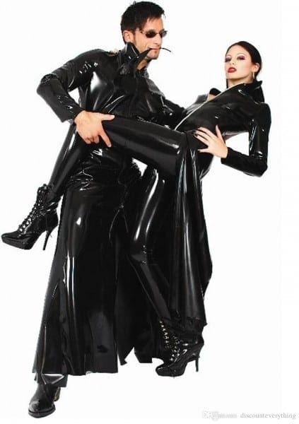 2018 Movie Men Womens Cool Black Pvc Halloween Party Trench The