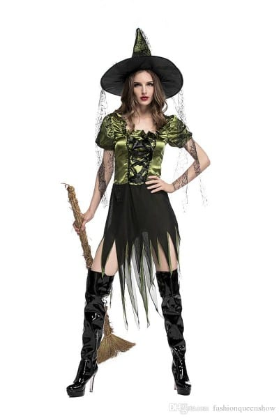 Sexy Green Adult Witch Magician Cosplay Dress Women Fantasy