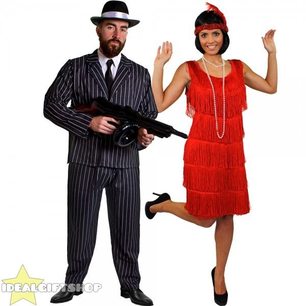 Gangster And Flapper Couples Costume 1920's Fancy Dress The Great