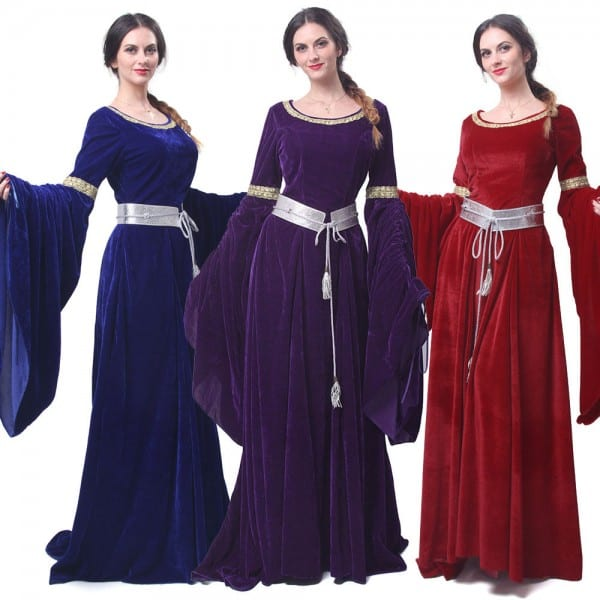 Women Velvet Medieval Renaissance Dress Celtic Queen Gown Larp