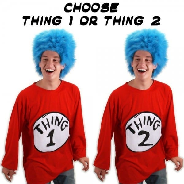 Adult Book Dr  Seuss Cat In The Hat Thing 1   Thing 2 Costume T