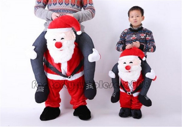 Xmas Carry Santa Claus Ride On Piggy Mascot Costume Adult Kids