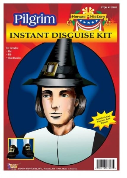 Adult Pilgrim Pioneer History Costume Accessory Kit Hat Shoe