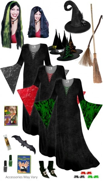Sale! Plus Size Witch Costume Black, Red Or Green