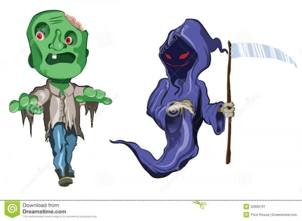 Scary And Funny Halloween Monsters Stock Illustration