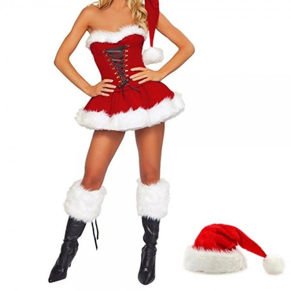 Sexy Christmas Costumes For Women Mrs Claus Corset Santa Outfit Dress