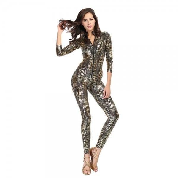 Sexy Women Metal Snake Skin Faux Leather Catsuit Zipper Jumpsuit