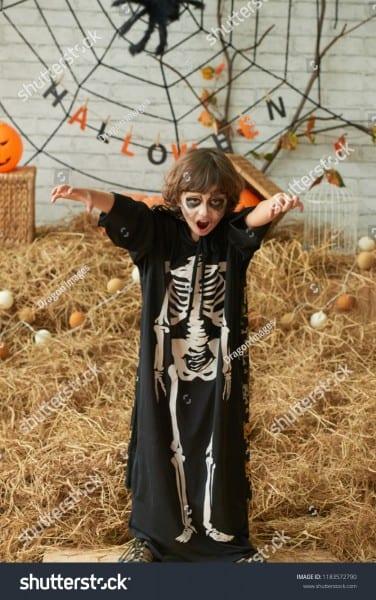 Scary Little Boy Halloween Costume Walking Stock Photo (edit Now