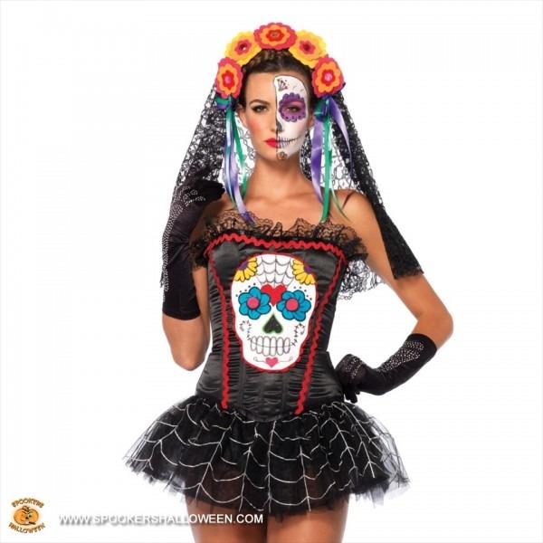 Sugar Skull Bustier Costumes For Women Spookers Halloween