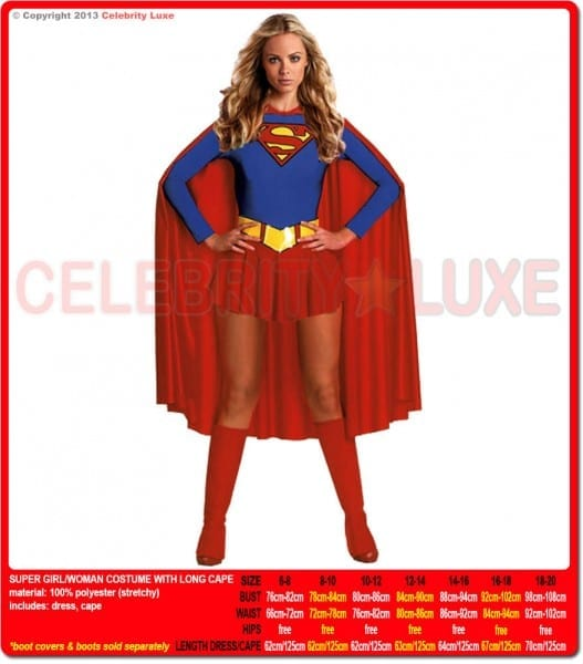 Super Woman Superhero Costume With Long Cape Ladies Fancy Dress