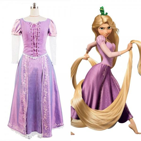 Tangled Halloween Cosplay Costume Princess Rapunzel Costume Dress