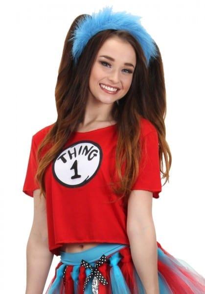 Dr  Seuss Thing 1&2 Womens Juniors Costume Kit Shirt And Headband
