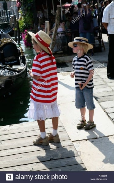 Two Italian Children As Gondoliers, Venice Italy Next Generation