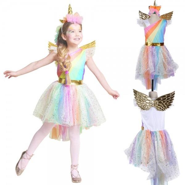Unique Girls' Deluxe Princess Rainbow Unicorn Costume Halloween