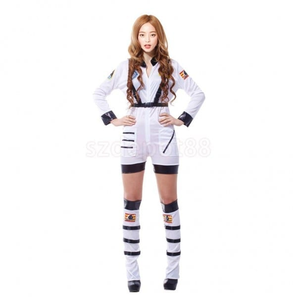 Woman Astronaut Costume Spaceman Space Jumpsuit Halloween Fancy