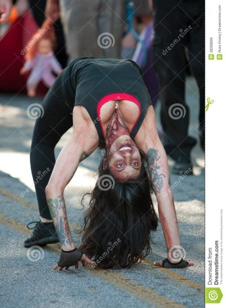 Zombie Gymnast Performs At Halloween Parade Editorial Photo