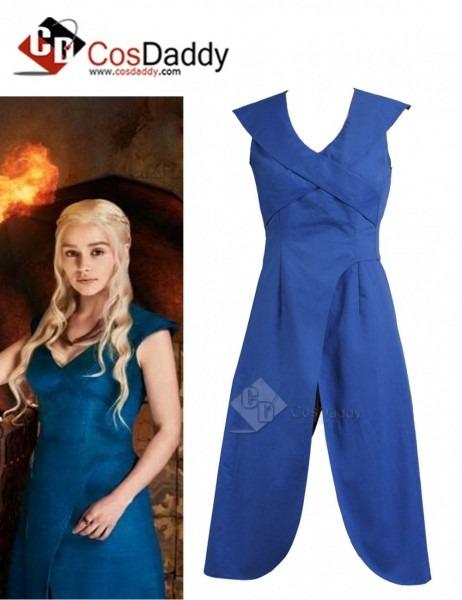 Game Of Thrones Queen Daenerys Targaryen Cosplay Blue Long Dress