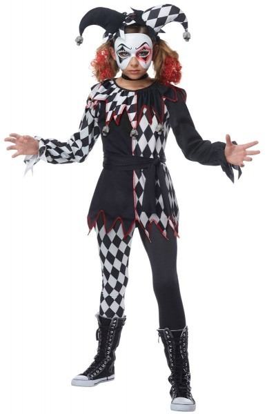 Girls Creepy Jester Fancy Dress Costume