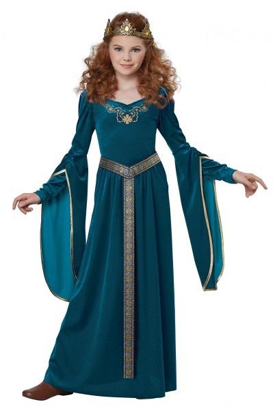 Cute Adorable Medieval Time Era Royal Princess Dress Costume Child
