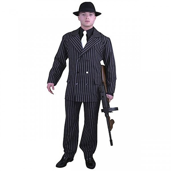 1920s Gangster Suit Black With White Pinstripes 01916