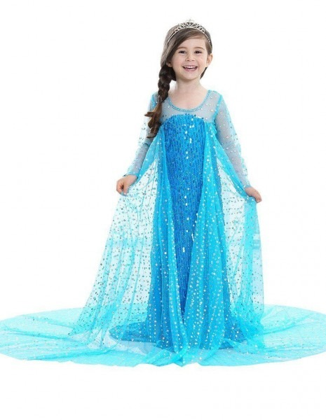Frozen Elsa Dress With Cape Kid Girls Halloween Costume Princess