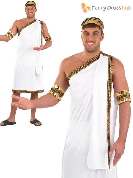 Mens Julius Caesar Costume Roman Toga Greek Adult Fancy Dress