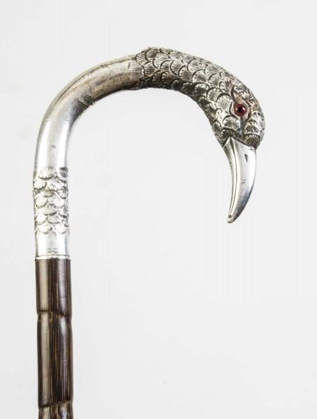 Antique Silver Bird Handle Walking Stick Cane 1912