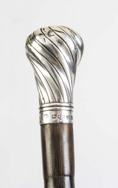 Antique Walking Stick Cane Silver Handle Brigg 1898