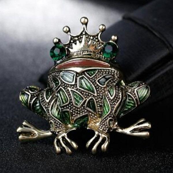 10pcs Metal Enamel Frog King Men Brooch Pins Women Party Banquet