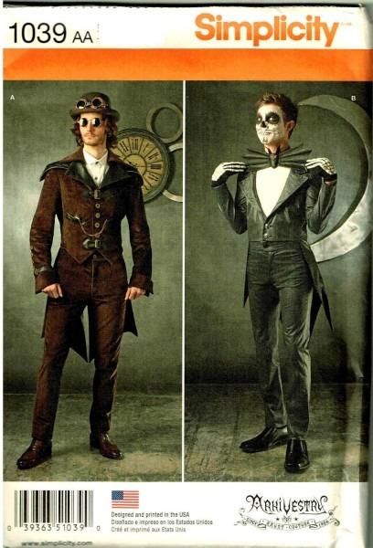 Mens Jacket Airship Coat Tails Pants Steampunk Tie Suit Simplicity