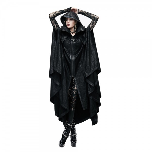 Steampunk Long Cape Gothic Women Men Polyester Black Trench Coat