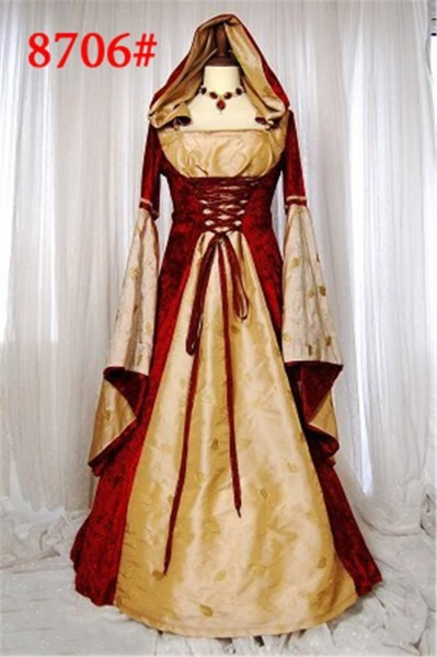 Medieval Gown Renaissance Cosplay Costumes Orange And Red Noble