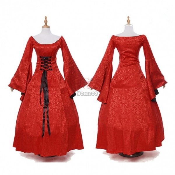 Buy Medieval Women Renaissance Dress Medieval Witch Red Long Gown