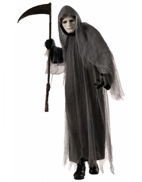 Scary Grey Ghoul Hooded Robe Grim Reaper Ghost Halloween Costume