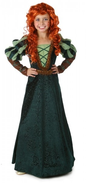 Brave Forest Princess Merida Green Dress Costume Child Girls